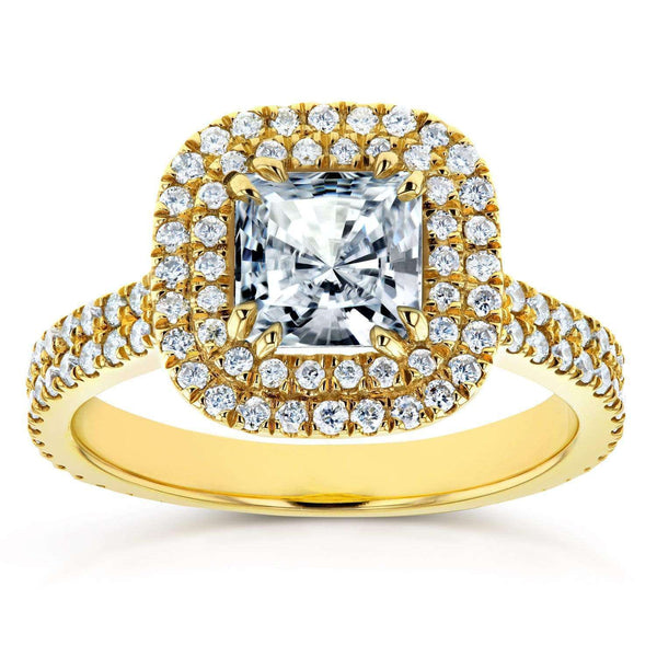 Kobelli Princess Moissanite D-E-F Double Halo Ring 1 5/8 CTW 14k Yellow Gold