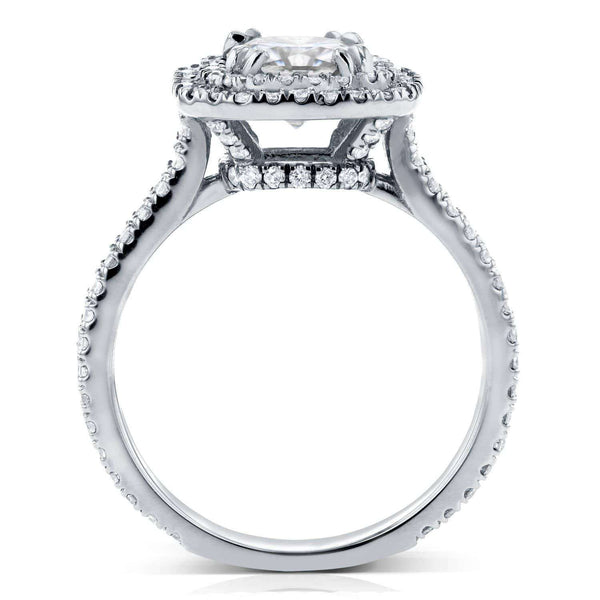 Kobelli Princess Moissanite D-E-F Double Halo Ring 1 5/8 CTW 14k White Gold