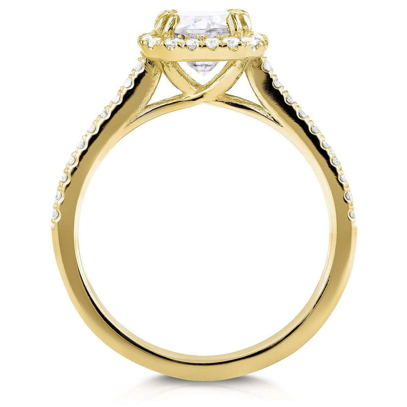 Kobelli Forever One D-F Moissanite and Diamond Halo Cathedral Bridal Set 1 1/2 CTW in 14K Yellow Gold
