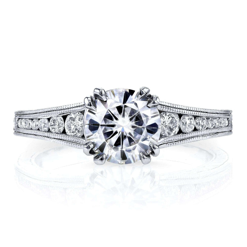 Kobelli Forever One (D-E-F) Colorless Moissanite and Diamond Channel Milgrain Band 1-1/4 CTW in 14K White Gold