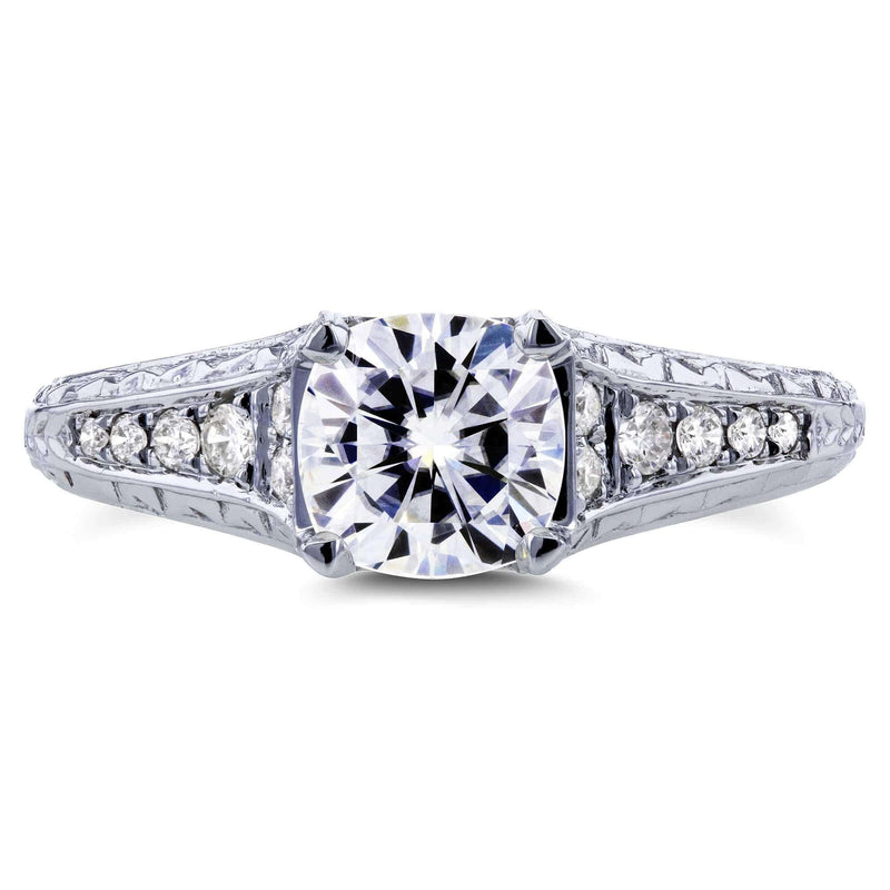 Kobelli Cushion Forever One DEF Moissanite and Diamond Vintage Engagement Ring 1 1/5 CTW in 14k White Gold