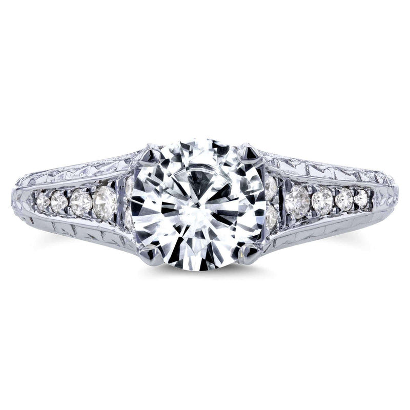 Kobelli Round Forever One DEF Moissanite and Diamond Vintage Engagement Ring 1 1/10 CTW in 14k White Gold