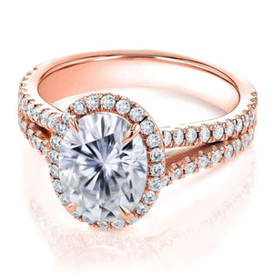 Kobelli Oval Moissanite D-E-F Halo Split Shank Ring 14k Rose Gold