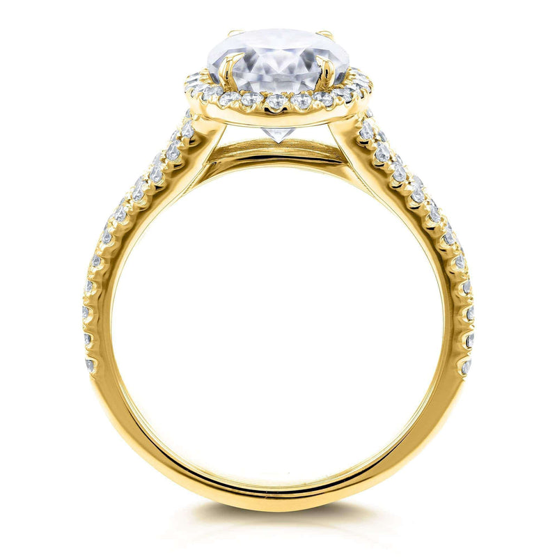 Kobelli Oval Moissanite D-E-F Halo Split Shank Ring 14k Yellow Gold
