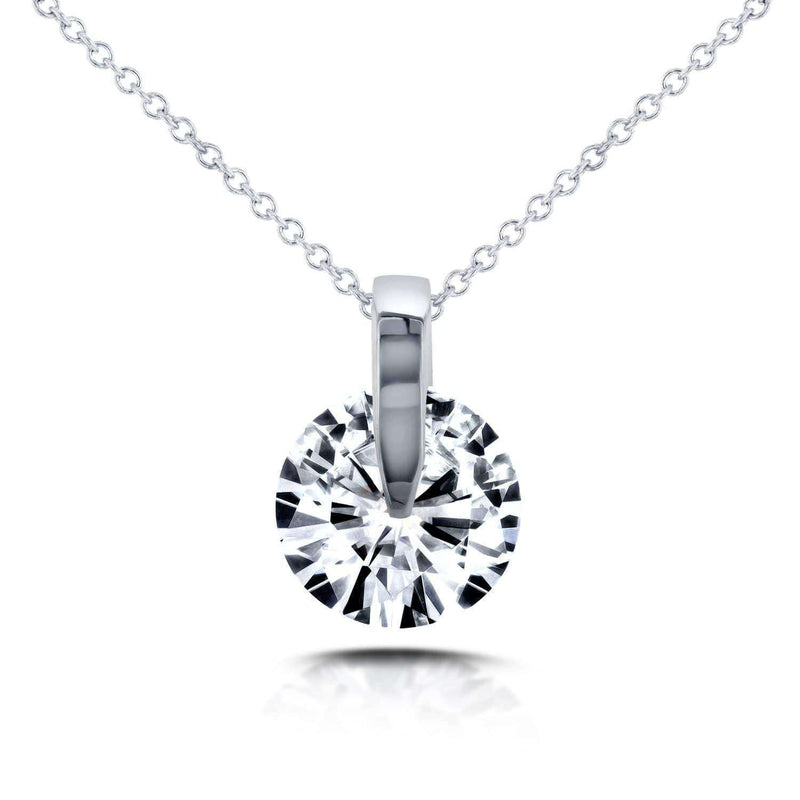 "Kobelli Forever One (D-F) Moissanite Wheel Solitaire Necklace 1 1/2 CTW in 14k White Gold (16"" Chain) MZFO62285"
