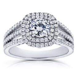 Kobelli Forever One D-F Moissanite and Multi-Row Diamond Split Band Engagement Ring 2 Carats TGW 14k White Gold