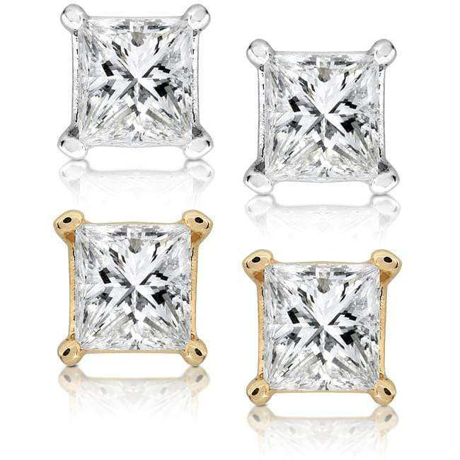 Kobelli 1/2ct.tw Princess Diamond Stud Earrings 14k Gold