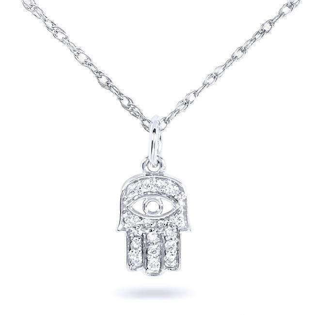 "Kobelli Mini Diamond Accented Hamsa ""Hand of God"" Pendant & Chain in 14K Gold 14101DM_WG"