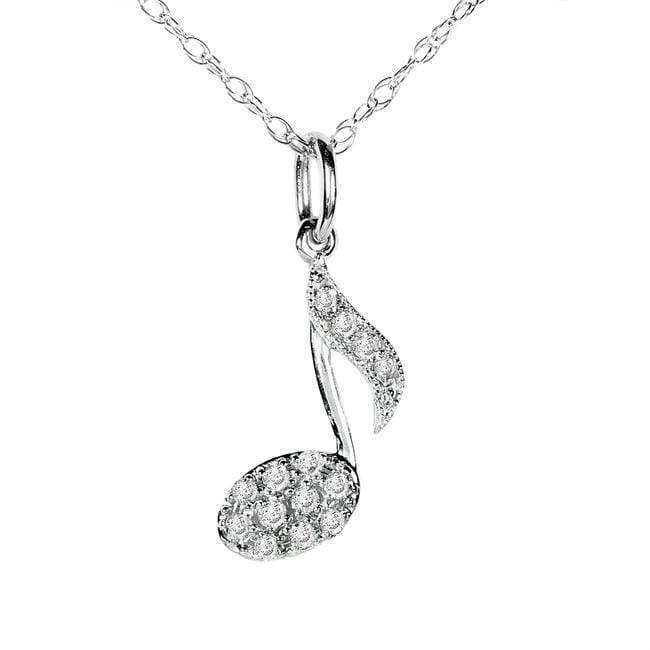 Kobelli Diamond Musical Symbol (Eighth Note) Pendant & Chain in 14K White Gold 61542DM_WG