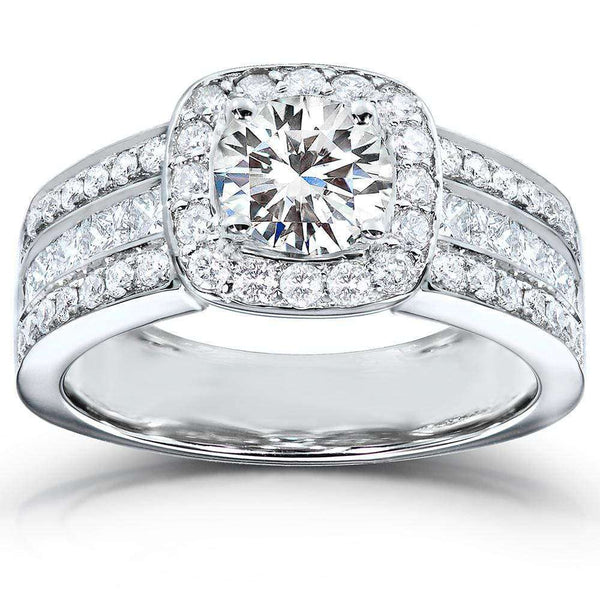 Kobelli Round-cut Diamond Halo Engagement Ring 2 Carat (ctw) in 14k White Gold