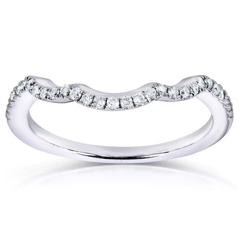 Kobelli Round Diamond Contoured Wedding Band 1/6 Carat (ctw) in 14K White Gold (for MZ61835R)