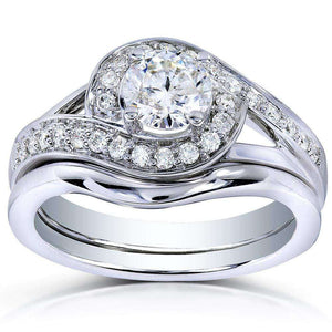 Kobelli Round-cut Diamond Bridal Ring Set 3/4 Carat (ctw) in 14k White Gold