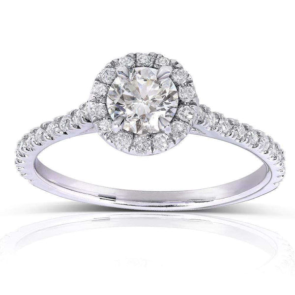 Kobelli Round-cut Diamond Halo Engagement Ring 5/8 Carat (ctw) in 14k White Gold