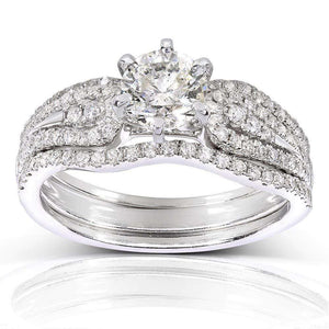 Round-cut Diamond Bridal Ring Set 1 1/5 Carat (ctw) in 14k White Gold (3-Piece Set)