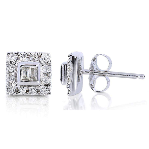 Kobelli Round and Baguette Diamond Stud Earrings 1/5 Carat (ctw) in 10K White Gold 61941