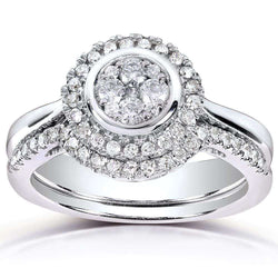 Kobelli Round-cut Diamond Bridal Ring Set 3/8 Carat (ctw) in 10k White Gold (2 Piece Set)