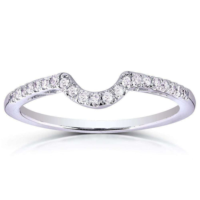 Kobelli Round Diamond Curved Wedding Band 1/6 Carat (ctw) in 10K White Gold