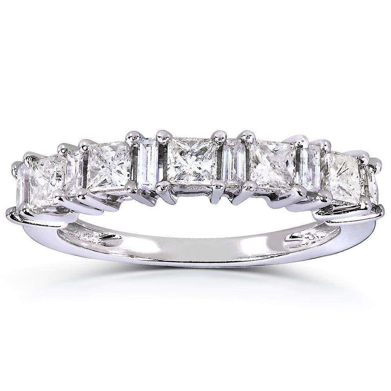 Kobelli Princess-cut and Baguette Diamond Band 3/4 Carat (ctw) in 14k White Gold