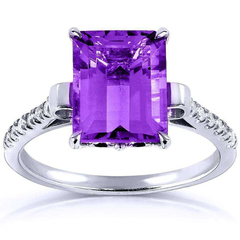 2 carat emerald cut diamond ring with amethyst center stone