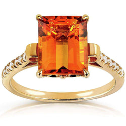 Kobelli Emerald Citrine and Diamond Ring 14k Gold Plated Silver (2-5/8 CTW)