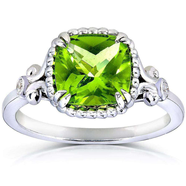 Kobelli Cushion-cut Peridot & Diamond Accent Ring 2 Carat (ctw) in Silver 14k White Gold Plated