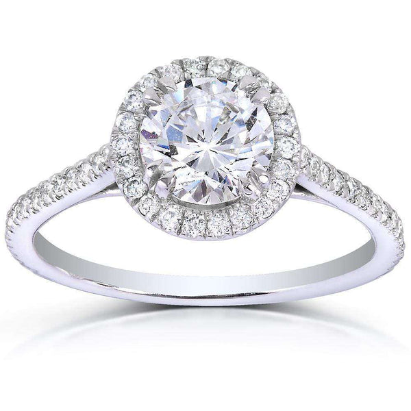 Kobelli Round-cut Diamond Halo Engagement Ring 1 1/3 Carat (ctw) in 14k White Gold