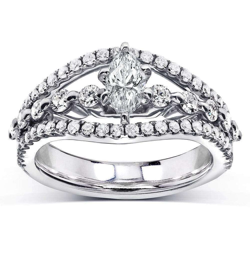 Kobelli Antique Marquise Diamond Split Shank Engagement Ring 1 Carat (ctw) in 14k White Gold