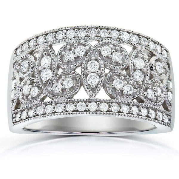 Kobelli Antique Floral Diamond Band 1/2 Carat (ctw) in 14k White Gold