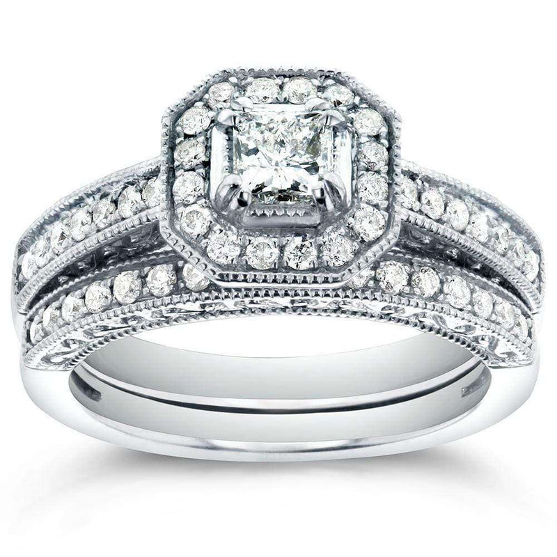 Kobelli Antique Princess-cut Halo Diamond Bridal Ring Set 3/4 Carat (ctw) in 14k White Gold