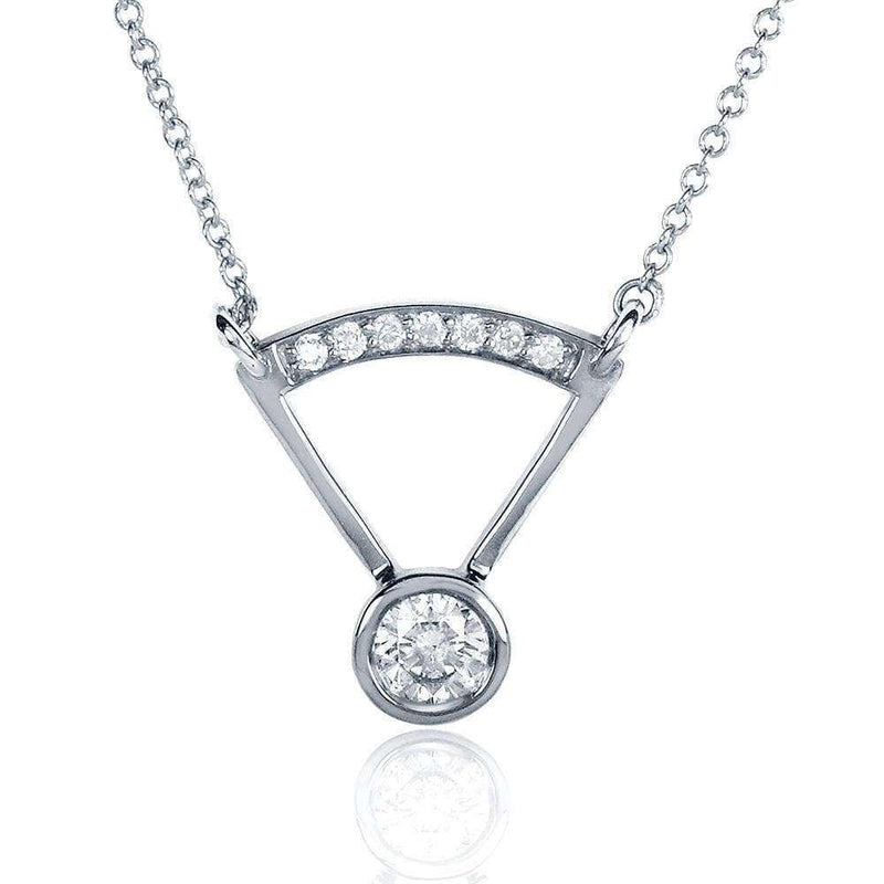 Kobelli Round-cut Bezel Diamond Necklace 1/3 Carat (ctw) in 14k White Gold 62039