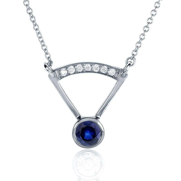 Kobelli Round-cut Blue Sapphire Diamond Accented Bezel Necklace 1/3 Carat (ctw) in 14k White Gold 62039BS