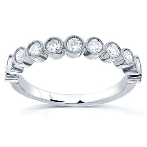 Round-Cut Diamond Wedding Band 1/2 carat (ctw) in 14k White Gold