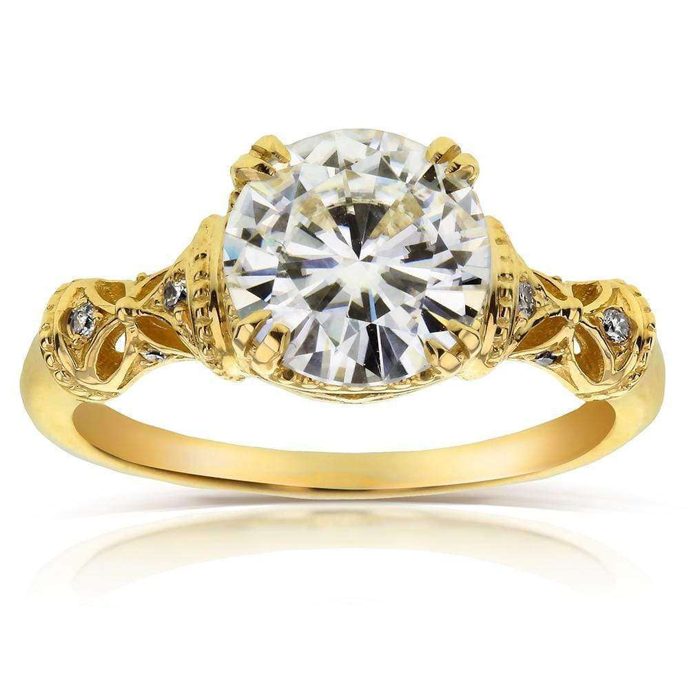 Best Antique Round-cut Moissanite Engagement Ring with Diamond 1 1/2 CTW 14k Yellow Gold - 9