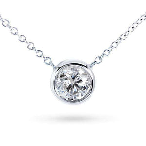 "Diamond Solitaire 2/5 Carat Bezel Necklace in 14K Gold (16"" Chain)"