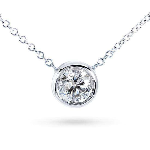 "Kobelli Diamond Solitaire 2/5 Carat Bezel Necklace in 14K Gold (16"" Chain) 6698-40"