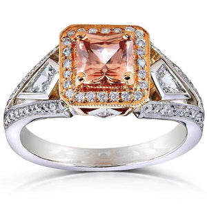 Brown Zircon and Diamond Halo Ring 4 CTW in 14k Gold