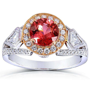 Pink Tourmaline and Diamond Engagement Ring 2 Carat (ctw) in 18k Gold