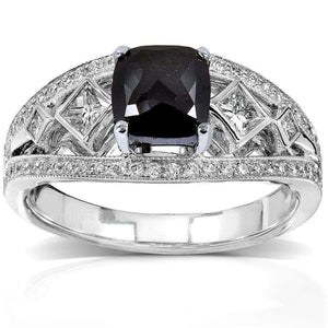 Kobelli Art Deco Cushion Black and White Diamond Ring 1 3/4 CTW in 18k White Gold