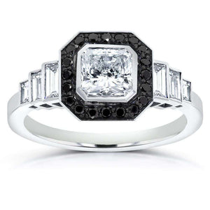 Kobelli Art Deco Black & White Tier Ring 1 3/4ctw in 14k White Gold (Certified)