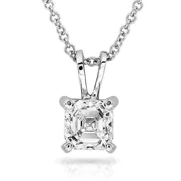 Kobelli Diamond Solitaire Pendant 1/4 Carat Asscher in 14K White Gold 9629-25DM
