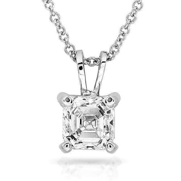 Kobelli Diamond Solitaire Pendant 3/8 Carat Asscher in 14K White Gold 9629-40DM