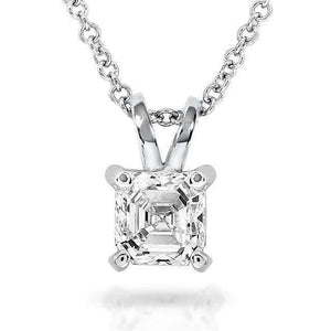 Kobelli Diamond Solitaire Pendant 1/2 Carat Asscher in 14K White Gold 9629-50DM