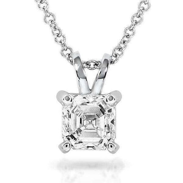Kobelli Diamond Solitaire Pendant 3/4 Carat Asscher in 14K White Gold (Certified) 9629-75DM