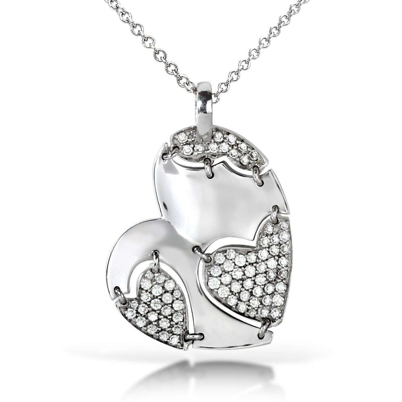 Diamond Heart Necklace 7/8 carat (ctw) in 18k White Gold (GH/VS1-VS2)