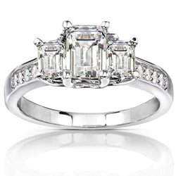 Kobelli Three-Stone Moissanite Engagement Ring with Diamond Accent 1 3/5 CTW 14k White Gold