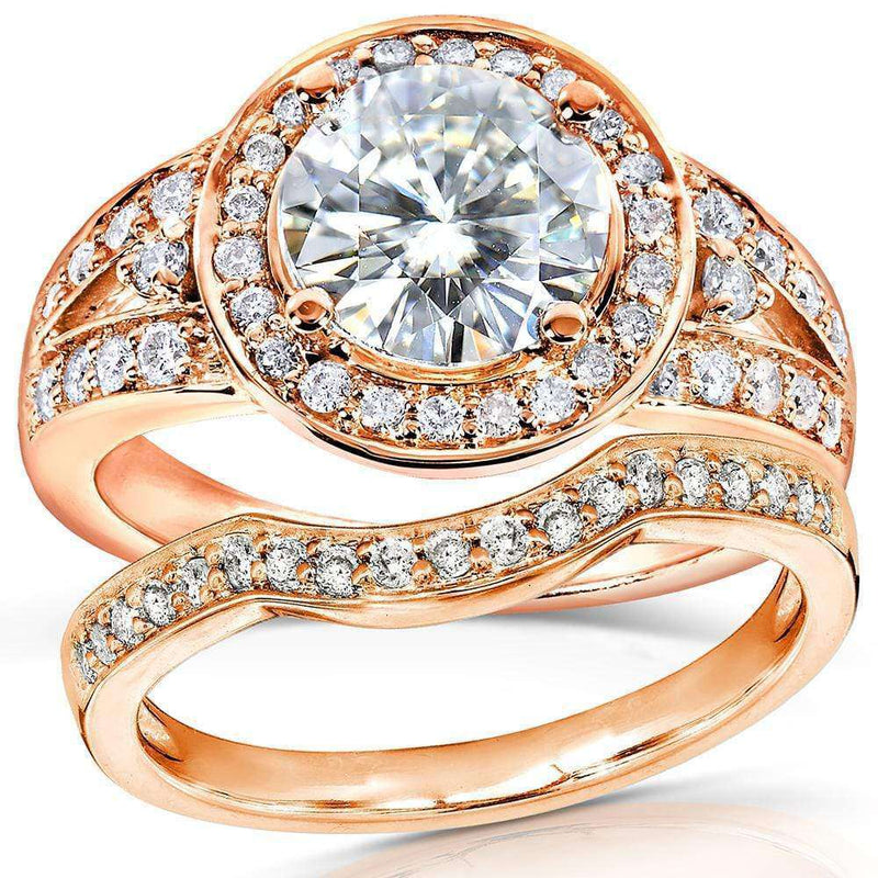 Kobelli Near-Colorless (F-G) Art Deco Moissanite Bridal Set with Halo Diamond 2 ctw 14k Rose Gold
