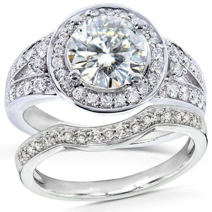 Kobelli Near-Colorless (F-G) Art Deco Moissanite Bridal Set with Halo Diamond 2 CTW 14k White Gold