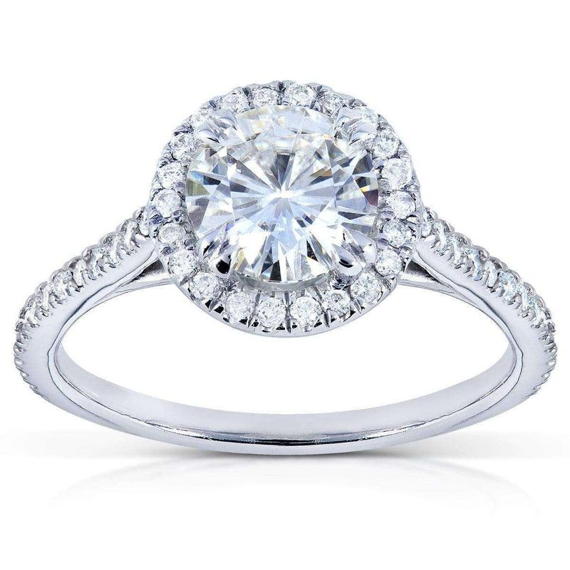 Kobelli Round Moissanite Engagement Ring with Diamond 1 1/4 CTW Platinum