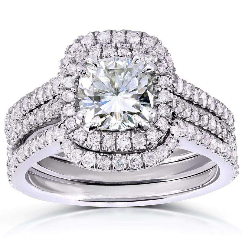 Kobelli Cushion-cut Moissanite Bridal Set with Diamond 1 7/8 CTW 14k White Gold