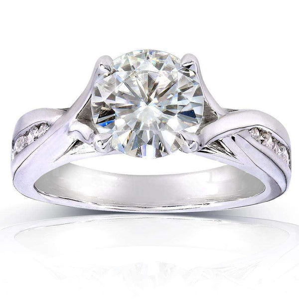 Kobelli Round-cut Moissanite Engagement Ring with Diamond 1 1/5 CTW 14k White Gold